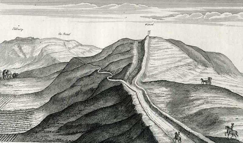 Stukeley's Drawing of Wansdyke - showing the Roman Road ON TOP and cutting through the ditch POSTDATING the earthwork