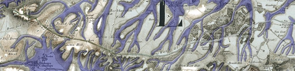 Wansdyke with the Post-Glacial waters (Paleochannels) which remained until the Neolithic Period