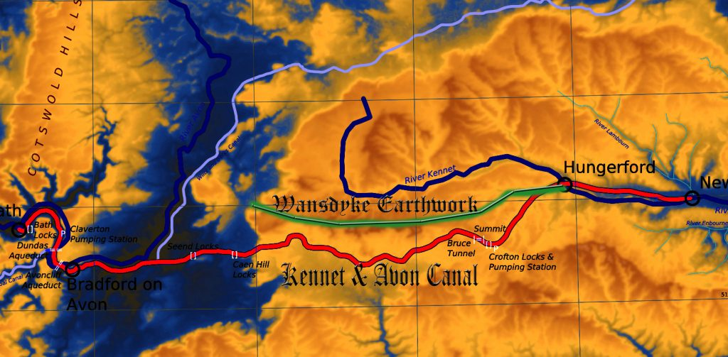 The location of Wansdyke in prehistoric times - in comparison to the Victorian canal - Prehistoric canals (dykes)