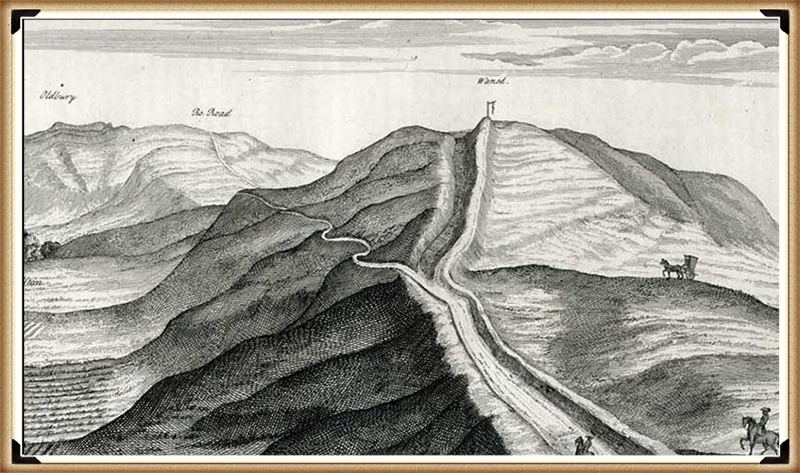 Stukeley's map of Morgans Hill - Prehistoric canals (dykes)