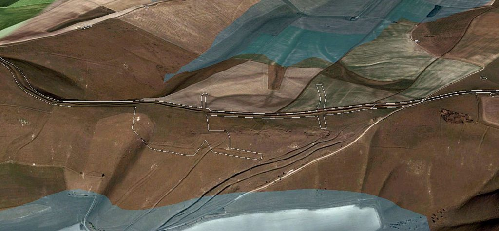 GE Map of Section 3 split earthworks - Prehistoric canals (dykes)