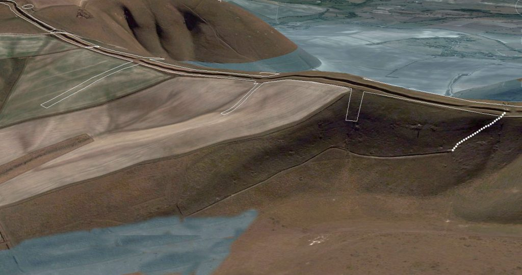 GE Map of Northern connecting dyke (looking south - reverse view) - Prehistoric canals (dykes)