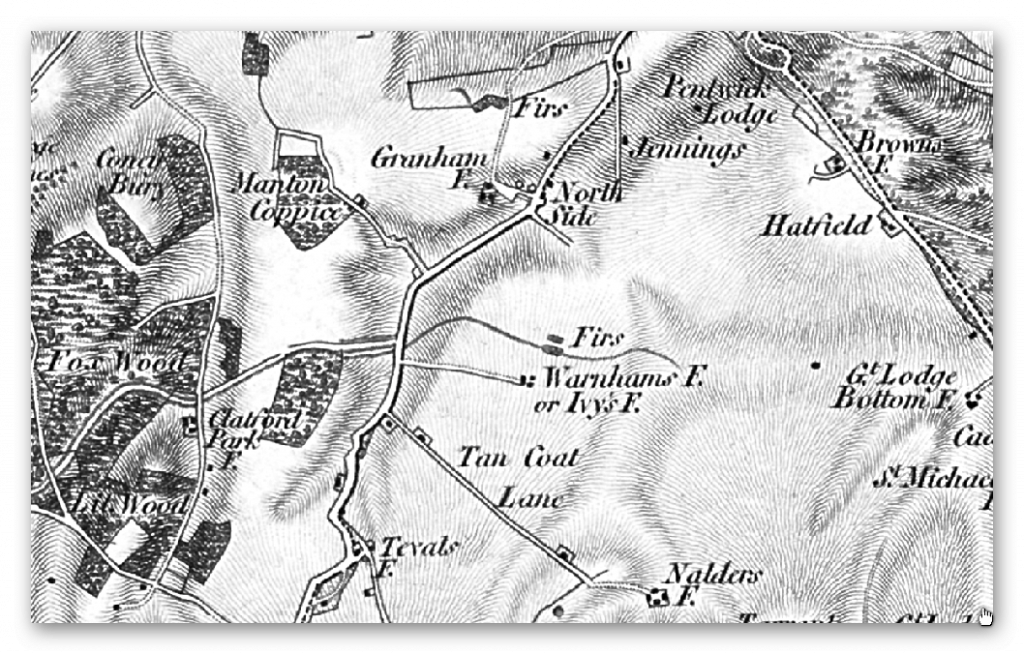 East Wansdyke 1800 map series - Prehistoric canals (dykes)