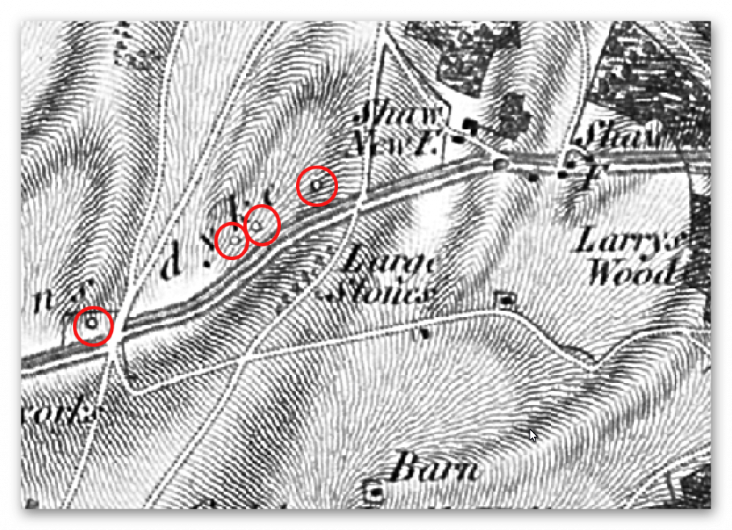 OS 1800s Round Barrows - Prehistoric canals (dykes)