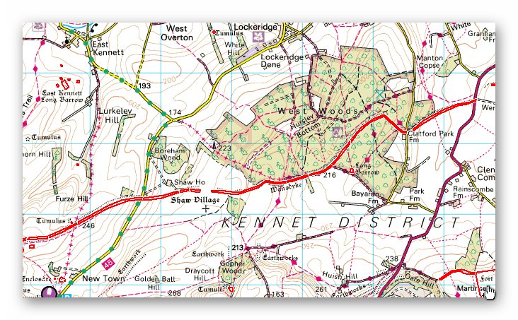 Wansdyke section 2 OS Map - Prehistoric canals (dykes)