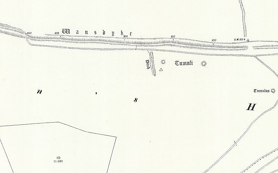OS Map of small off-dyke - Prehistoric canals (dykes)