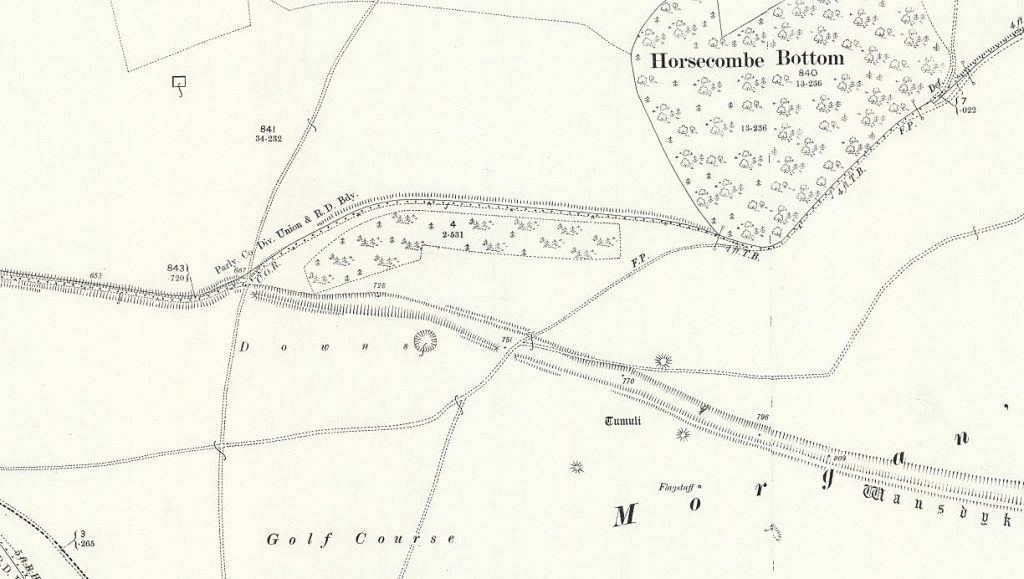OS Map of morgan's Hill West showing more branches - Prehistoric canals (dykes)