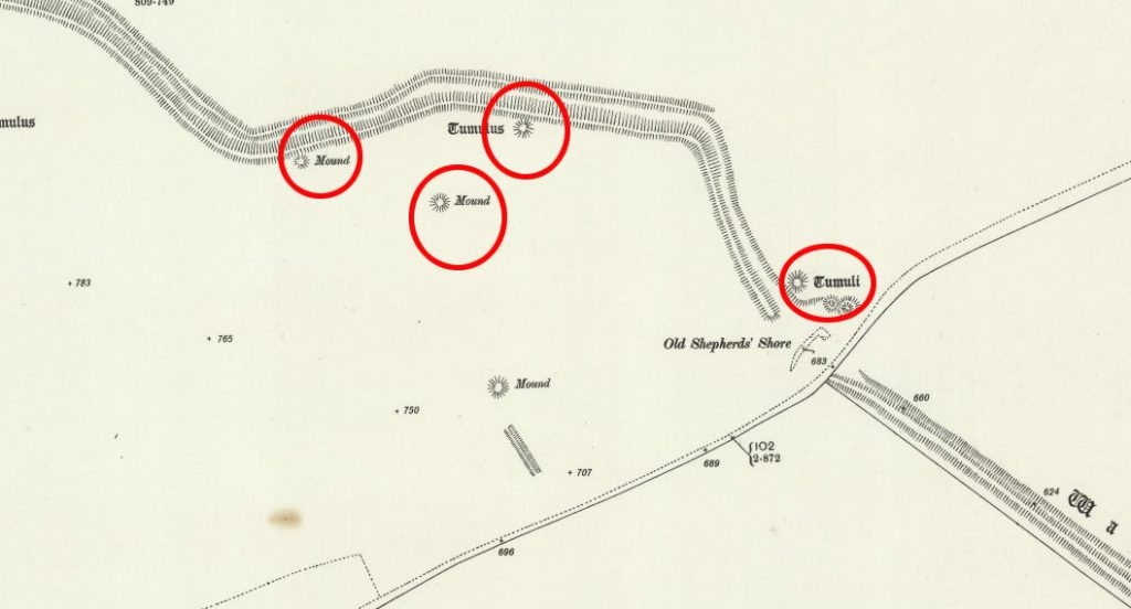 OS Map Morgan Hill East with Barrows - Prehistoric canals (dykes)
