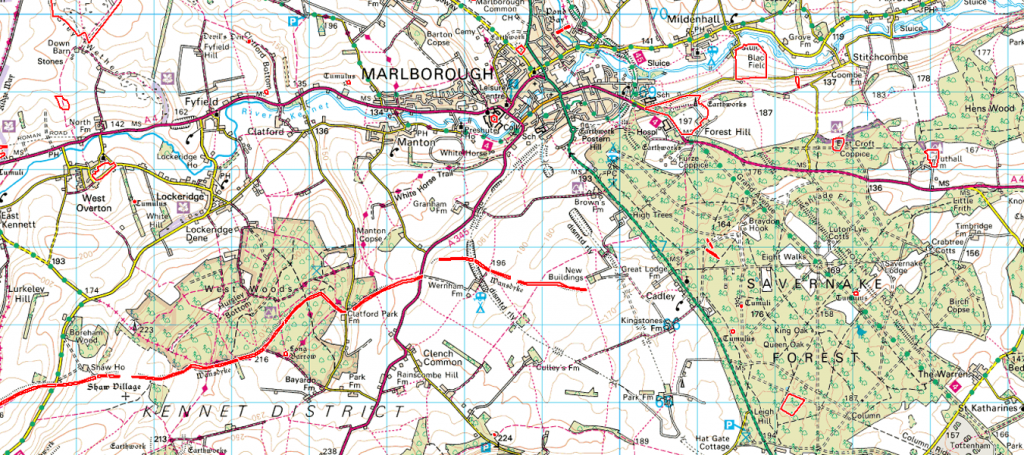 East Wansdyke OS series - Prehistoric canals (dykes)