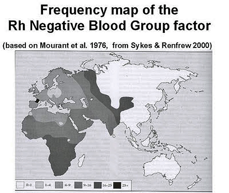 Blood Group map - First European to reach America